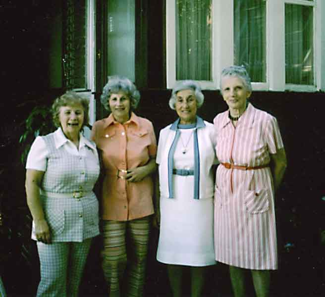 From left to right, my Aunt Pearl, Mom, Aunt Ethel, and Aunt Kate,