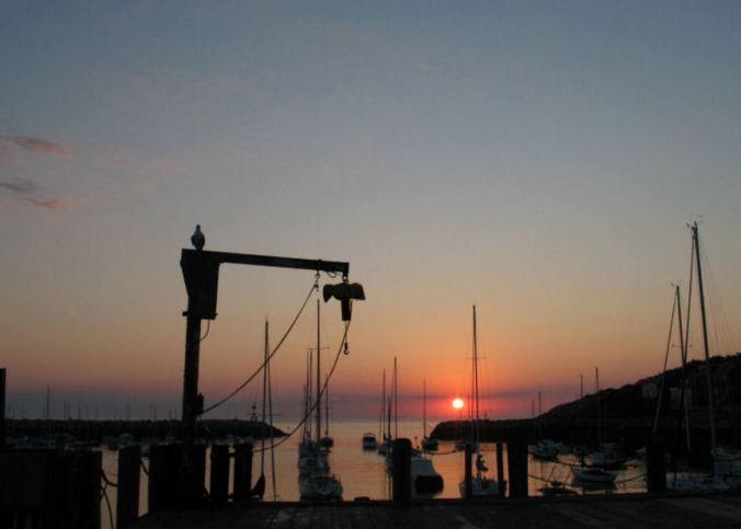 Glow of dawn on the docks