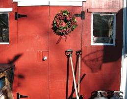 christmas red door wreath