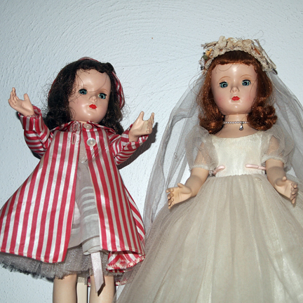 Three old Margaret (Margaret O'Brian) dolls