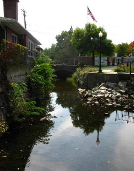 Canal between the falls and the former Bernat Mills which burned down a few years ago.