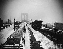 Brooklyn Bridge during the blizzard