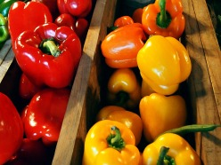 Red, yellow, and orange peppers