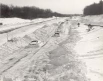 Stranded cars on Route 95, Blizzard of 1978, Boston.