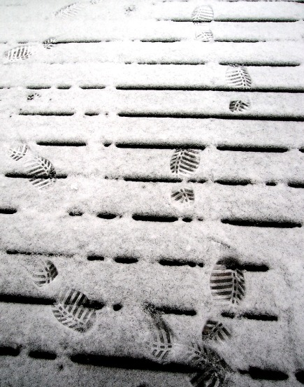 Light snow on the deck