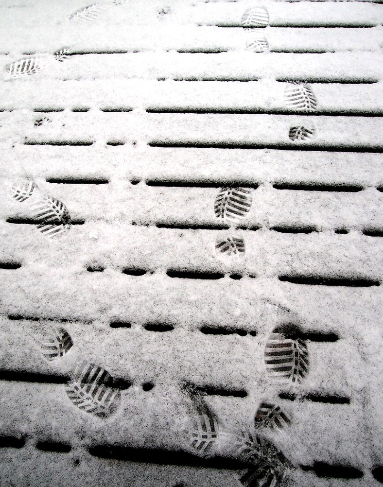 My footsteps on the deck ... the first of many no doubt.