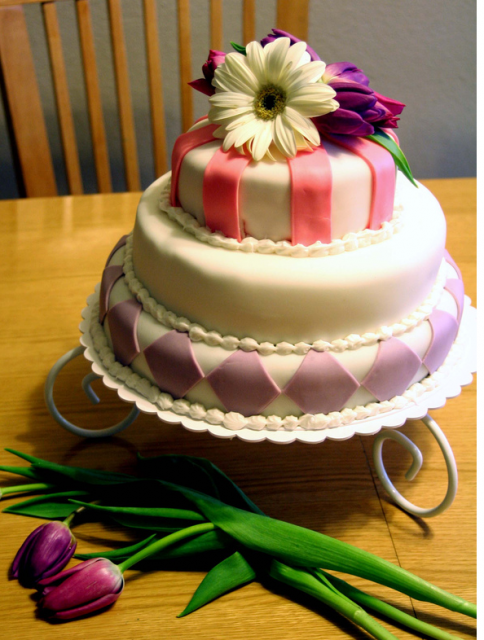 Beautiful mother_s day cake with fresh flowers