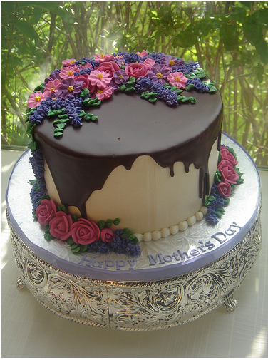 Elegant Happy Mother_s Day cake with chocolate decor