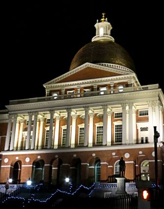 From the front, Boston statehouse