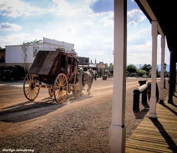 Slow moving coach on a hot day in Tombstone
