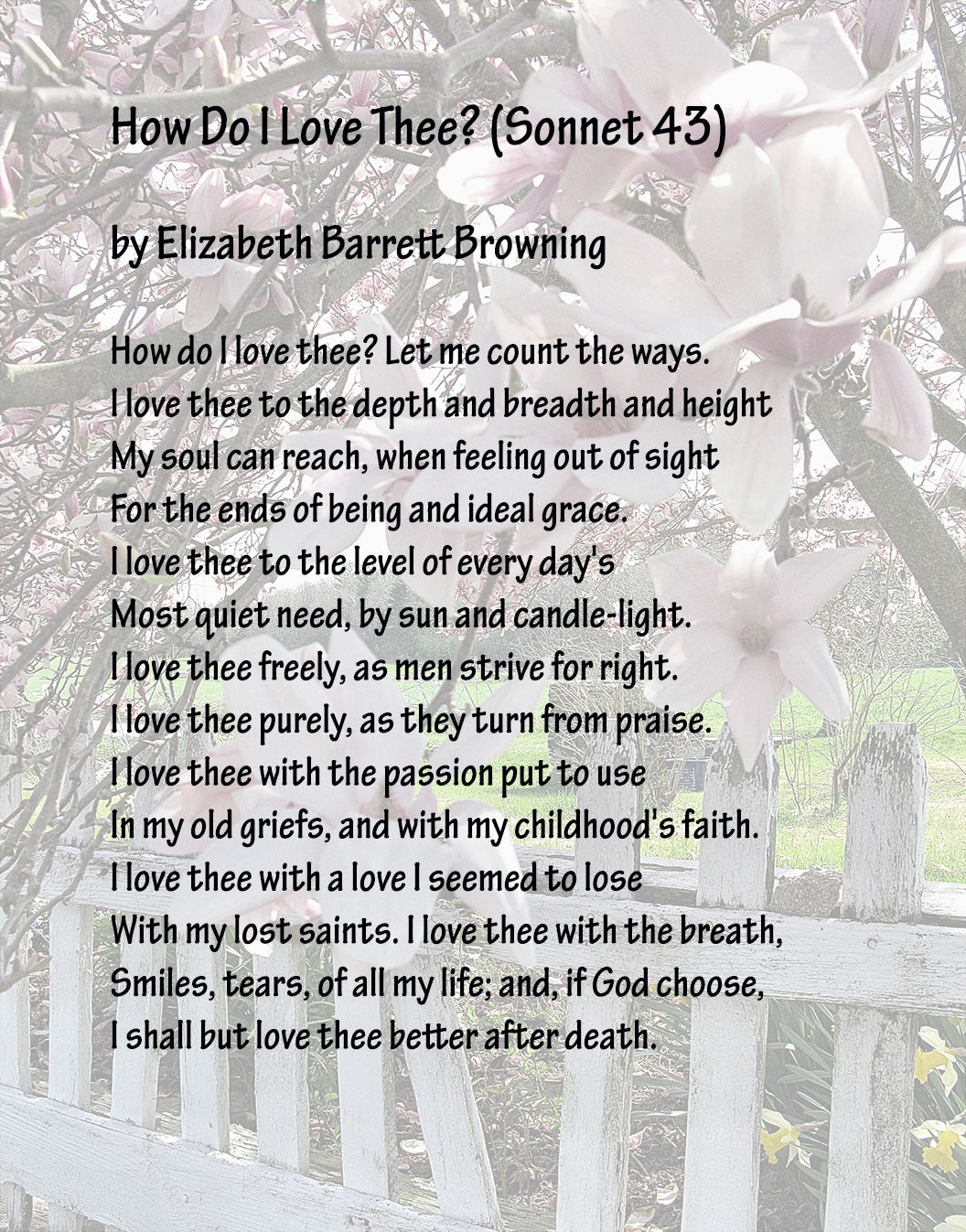 how do i love thee elizabeth barrett browning analysis Elizabeth barrett browning (1806-1861) wrote a series of 44 sonnets  t to  learn how to do your own analysis of how do i love thee and other famous  love.