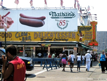 The Nathan's hot dogs they sell in the grocery are NOTHING like the ones they sell at the original Nathan's at Coney Island!