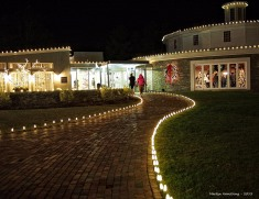 Lighted path at night