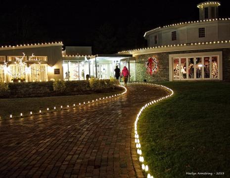 Lighted path at night