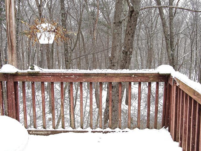 Winter deck - snowing