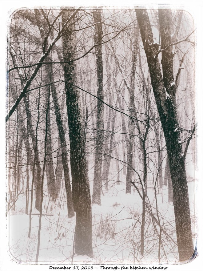 Vintage snow through wintdow