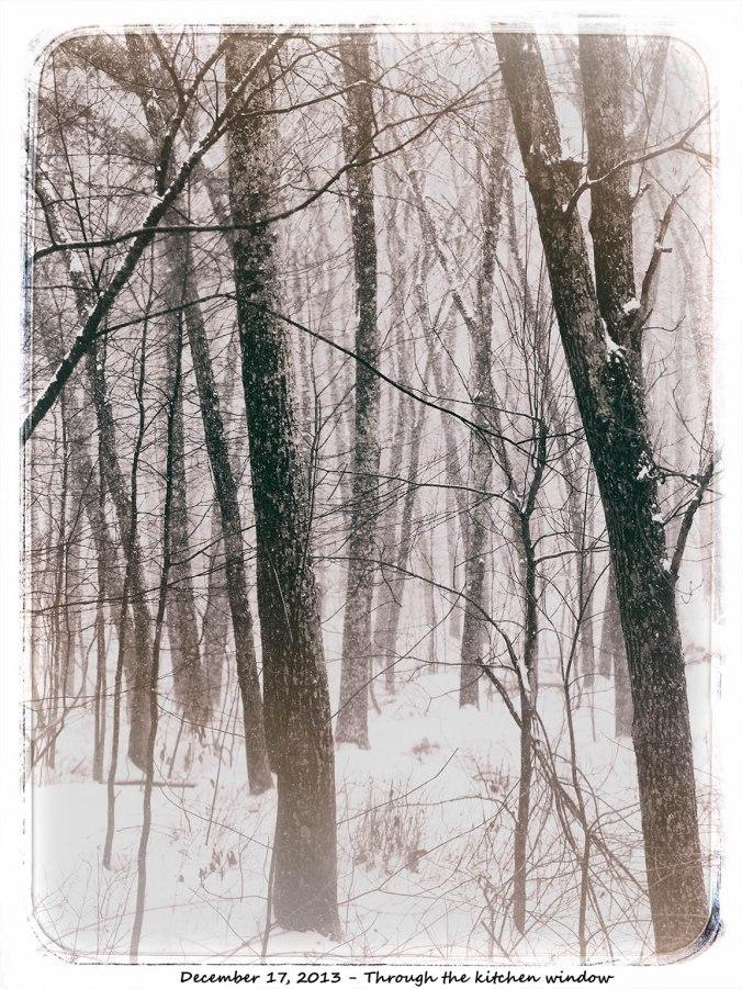 Vintage snow through wintdow
