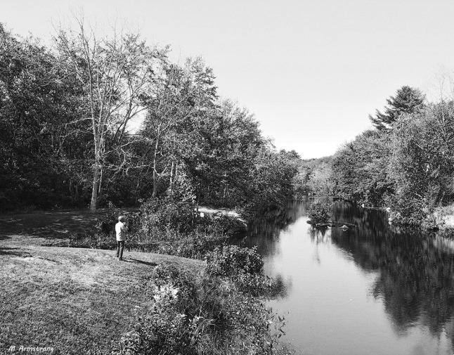 along the river BW