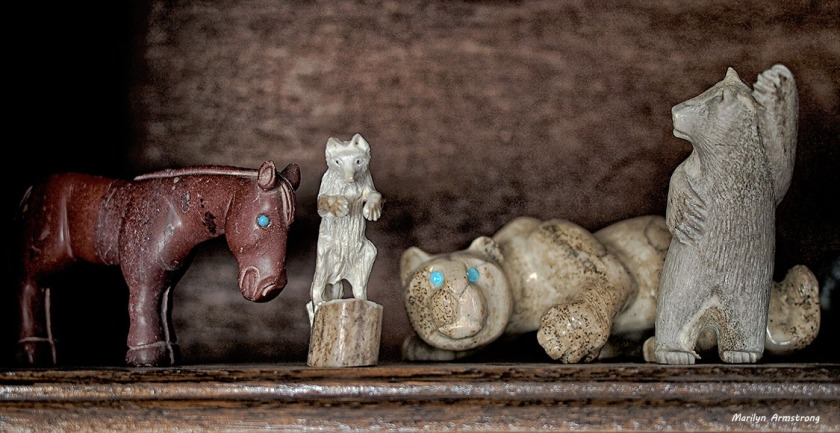 Mountain lion, wolf, and a lovely stone horse ... and of course, my favorite dancing bear