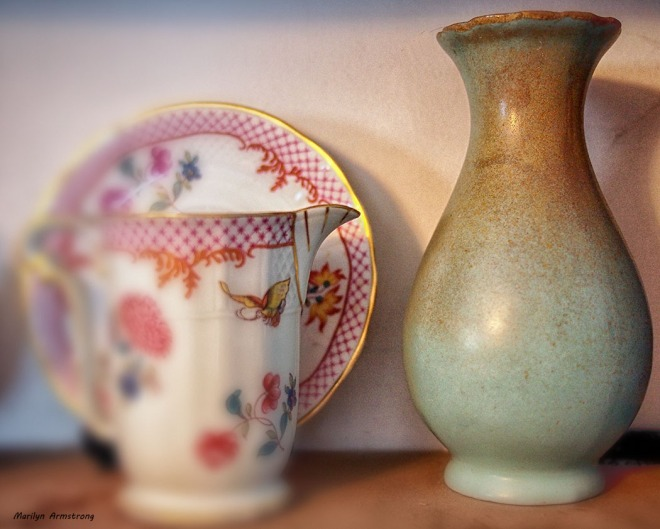 Counter point - Modern Limoge ca 1965 alongside Song dynasty vase (China Song Dynasty 960-1279 AD). I use the vase for single roses. Perfect size.