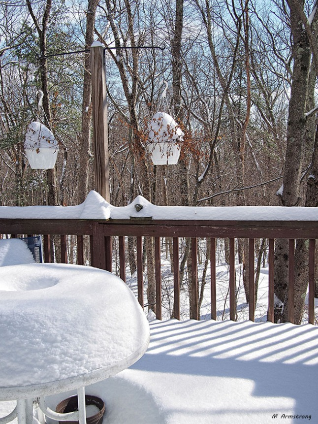 snow on porch table