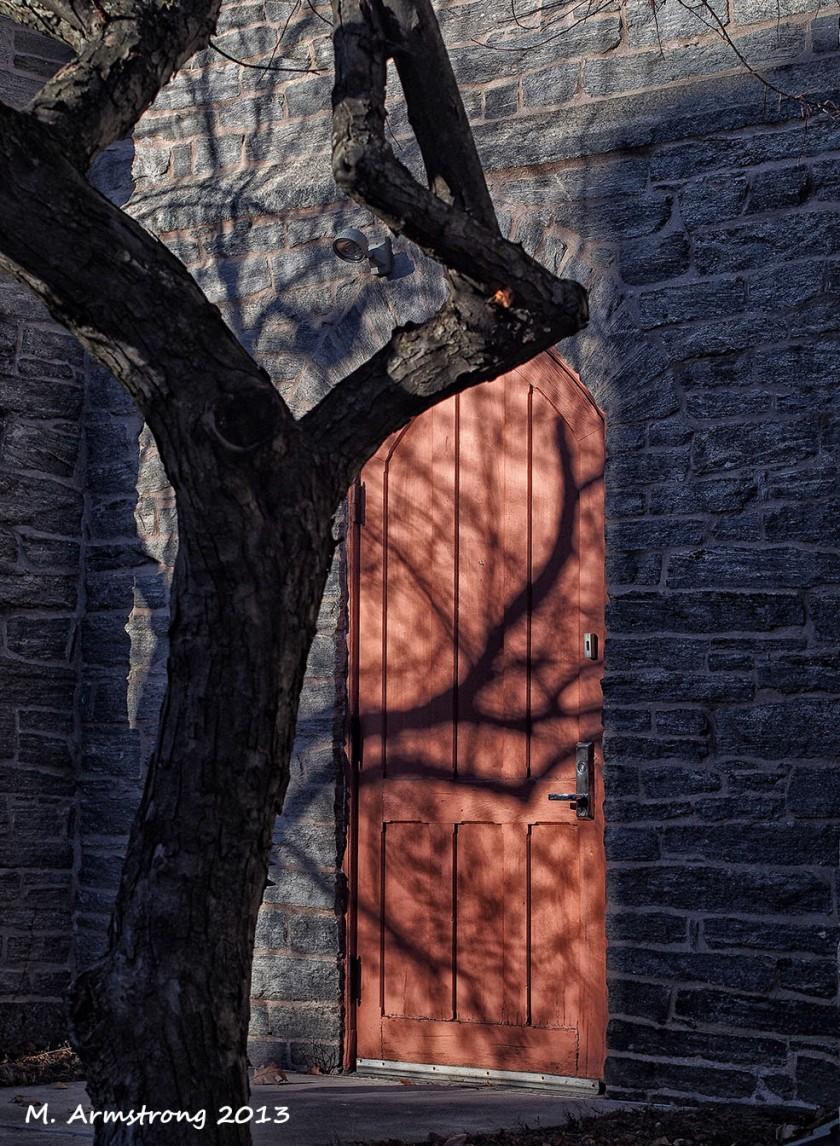 Church door Amherst shadow