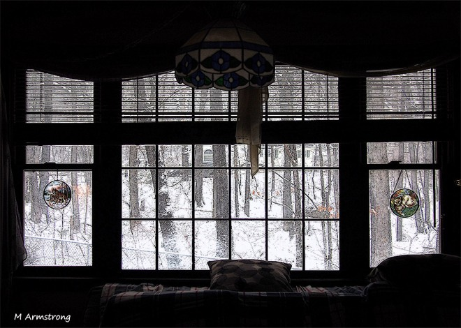 snow in window poster