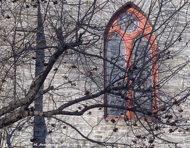 stone church and shadow