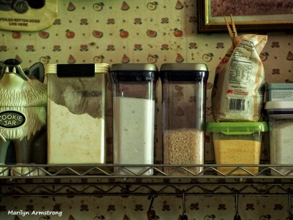 Canisters on the shelf