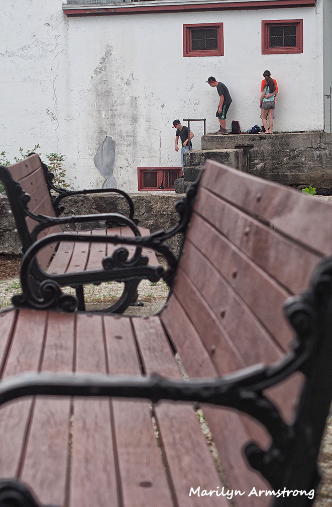 Benches with sneaky teenagers