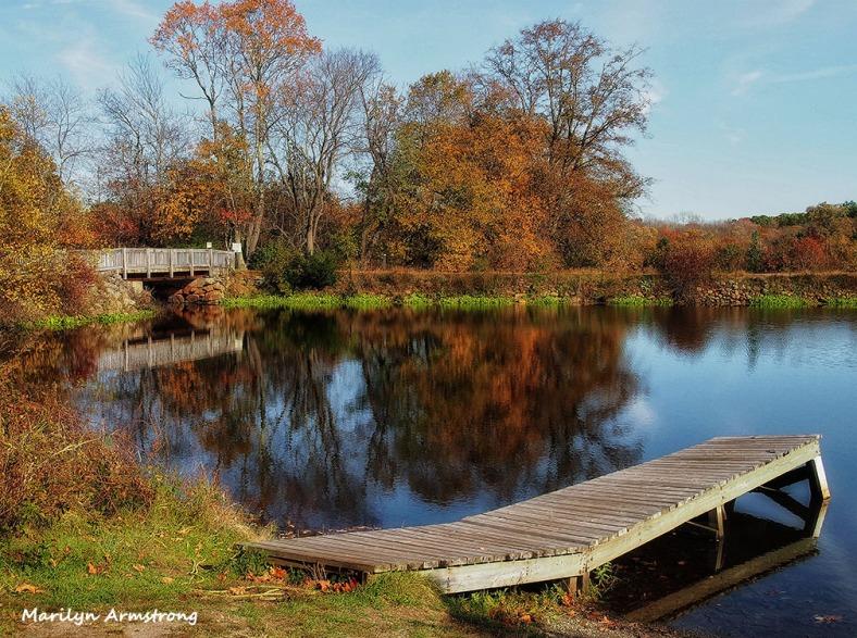 Between bridge and dock river bend