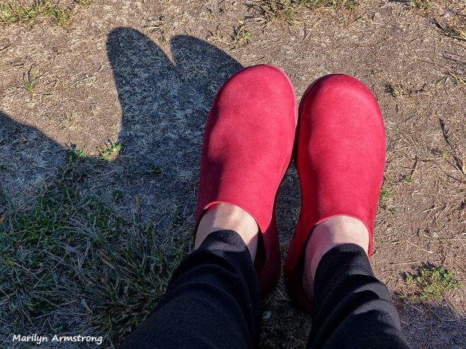 red fitflop clogs
