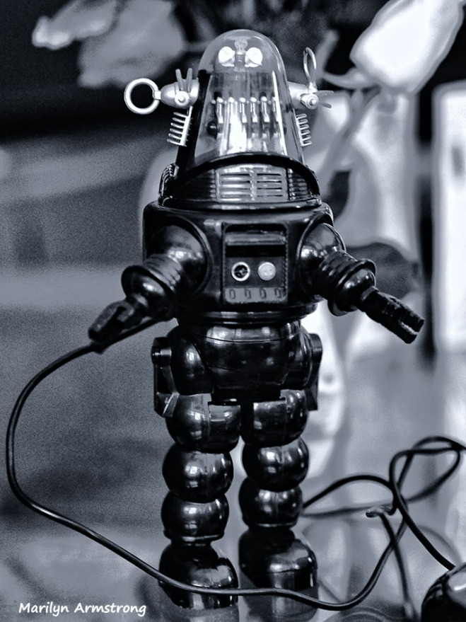 robby the robot in black and white