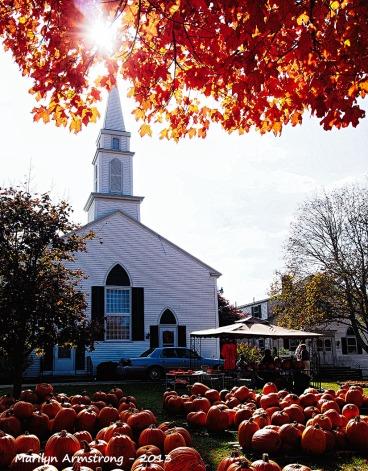 Pumpkins on Cape Cod church
