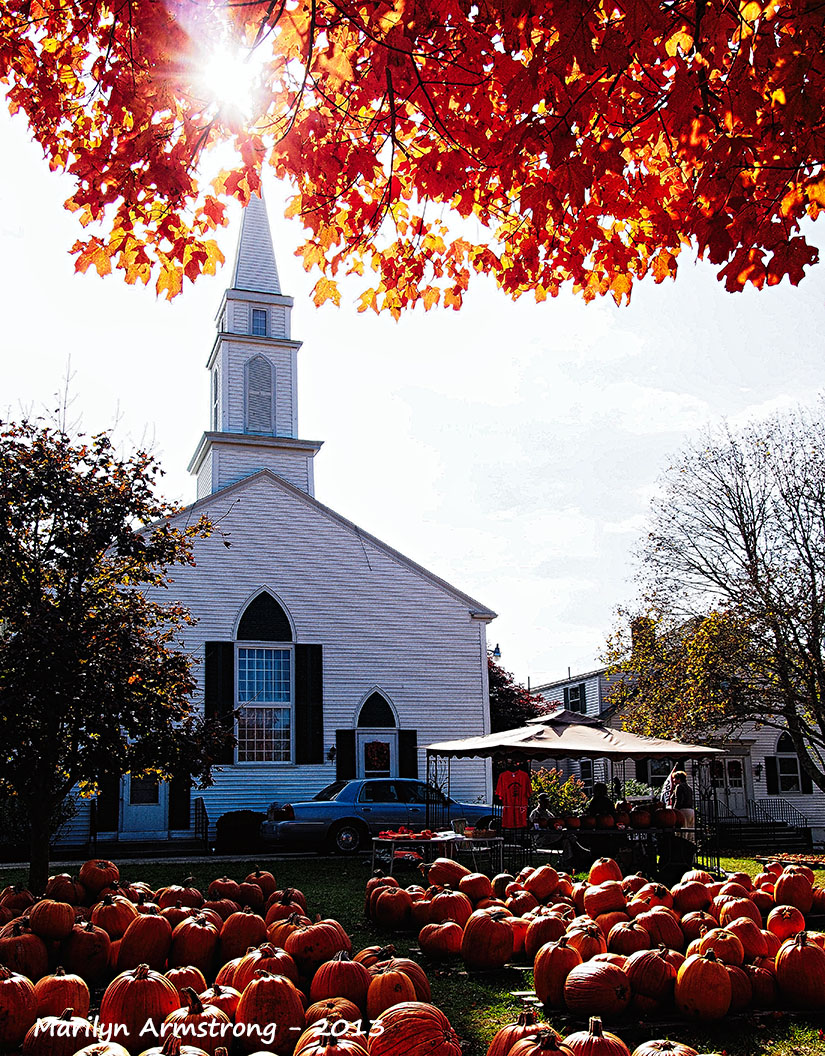 Pumpkins on Cape Cod church