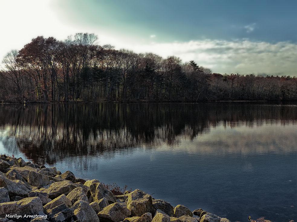 Twilight on Whitins Pond in November