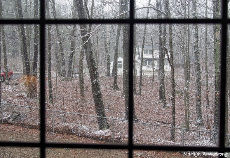 light snow falling picture window