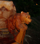 little bear-smiling bear-wood carving-photography-East L.-Oregon-SwittersB