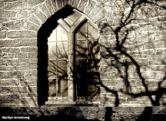 hadley BW shadows church
