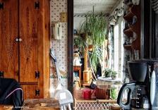 wide horizontal kitchen art solarization effect