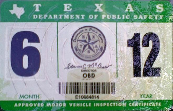 auto inspection sticker texas
