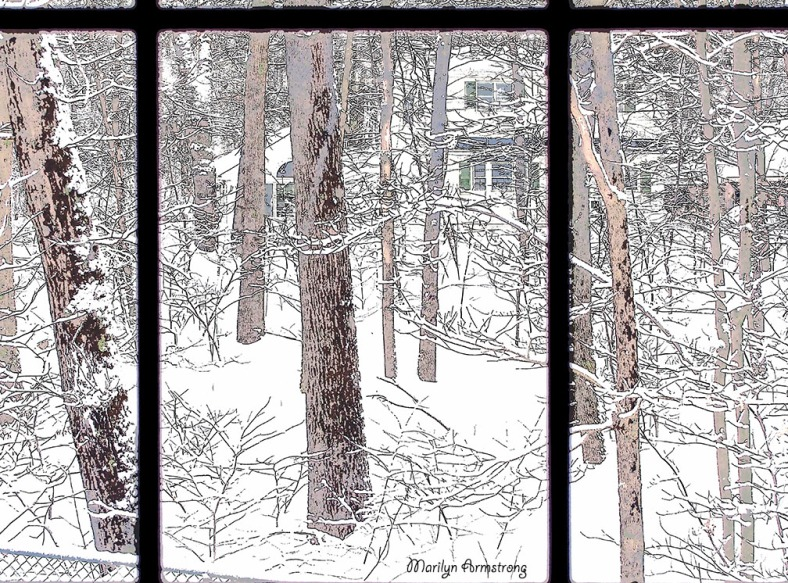snowy morning picture window poster