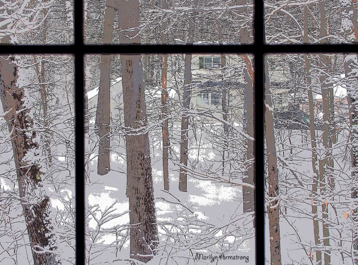 Picture window snowy world poster