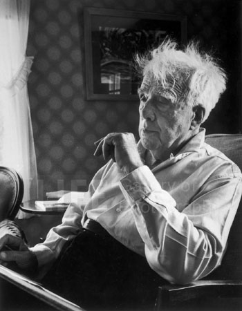 We own a signed print of this portrait of Robert Frost. It hangs downstairs in the den.
