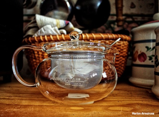 A glass teapot