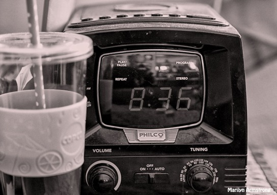 radio and coffee cup plastic BW