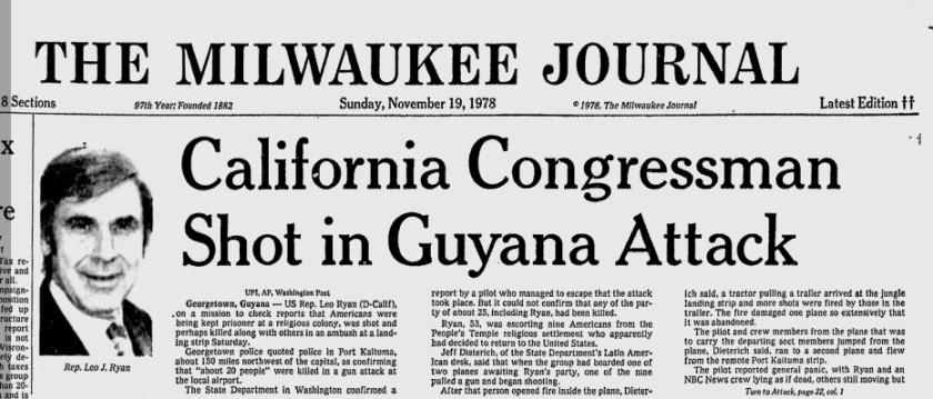 Jonestown headline Milwaukee
