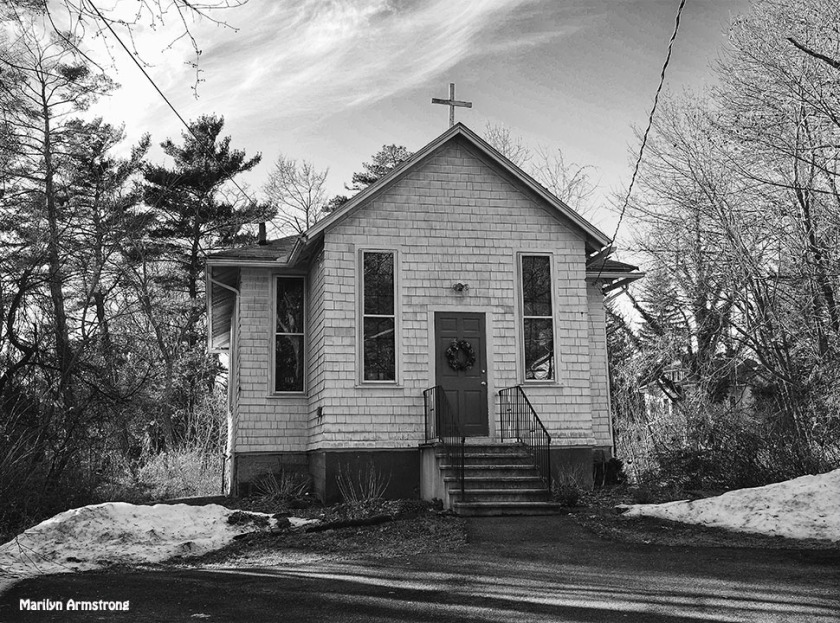 Hadley tiny church BW december