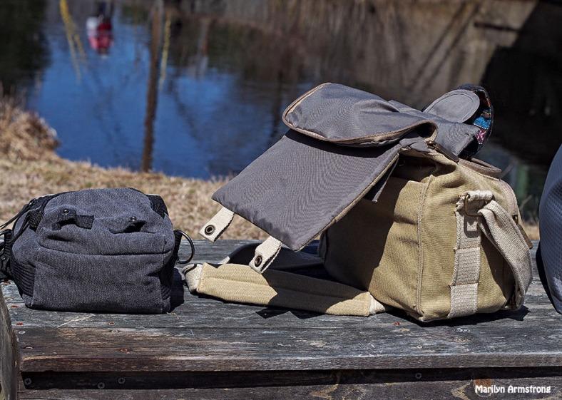 camera bags in the park
