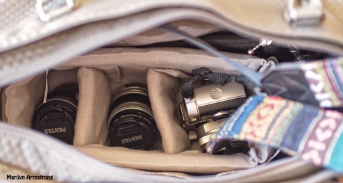 Pentax Q7 camera inset in bag
